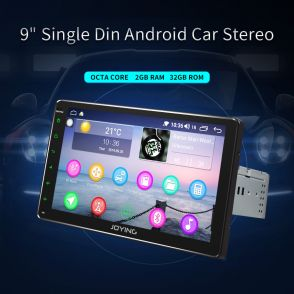 JOYFORWA 9 Inch Single Din Android Car Stereo in Car Dash With DSP SPDIF